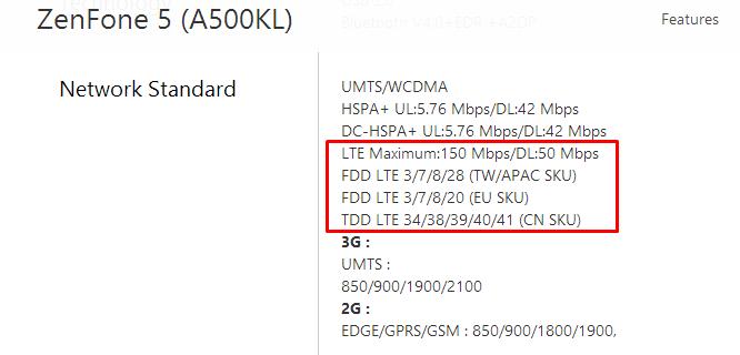 Zenfone 5 LTE Spec