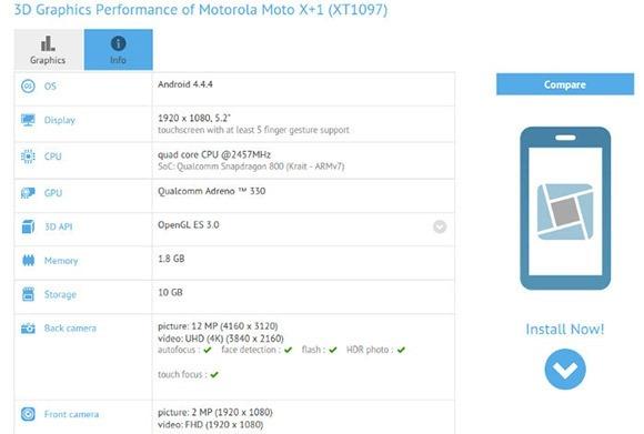 เผยสเปค Moto X+1 ผ่านผลเบนช์มาร์ก จอ 5.2 นิ้ว 1080p ใช้ Snapdragon 800