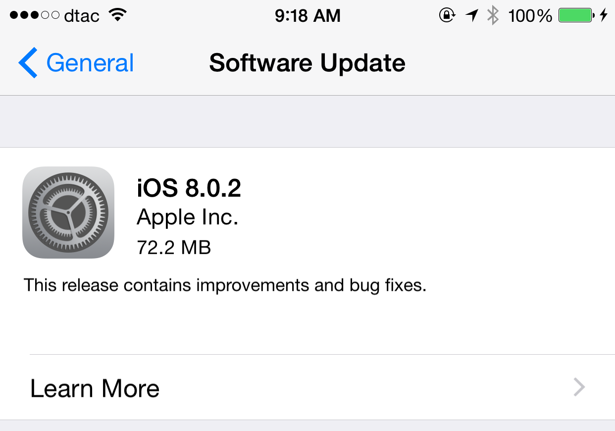 Apple ปล่อย iOS 8.0.2 ให้อัพเดตแล้ว แก้ปัญหาจาก 8.0.1 ทั้งหมด ดาวน์โหลดได้ทันที