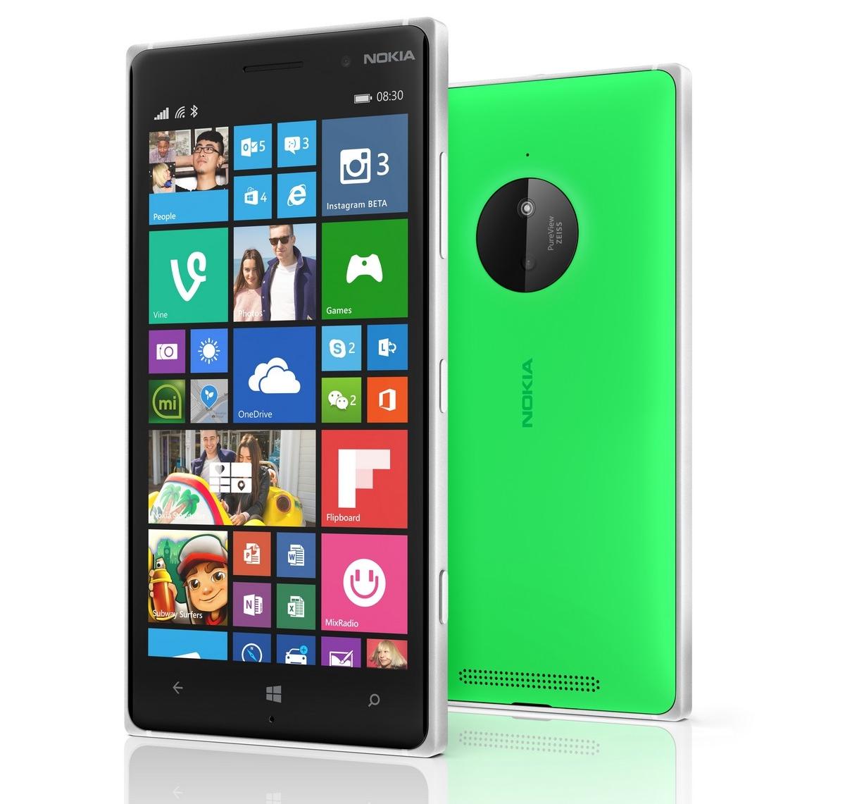 Lumia 830 front back