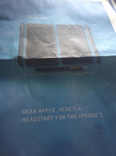 """แรงงงง !! Samsung โพสภาพ Galaxy Note 4 แล้วบอก Apple """"นี่ไง ต้นแบบดีไซน์ของ iPhone 7"""""""