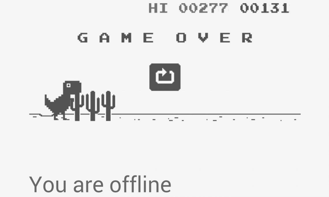 มาเล่นเกม ไดโนเสาร์ บน Chrome Beta for Android กันเถอะ