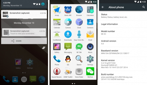 Xiaomi มาแรงปล่อย Lollipop (AOSP) สำหรับ Mi 2 และ 2S ออกมาแล้ว