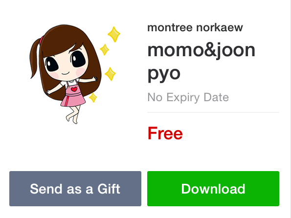 Line แจกฟรีสติ๊กเกอร์ Momo&Joonpyo ลายเด็กสาวน่ารักมุ้งมิ้ง ฟรีและไม่มีหมดอายุ
