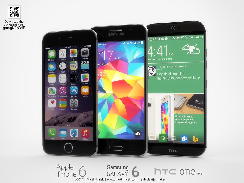 ภาพคอนเซ็ปท์ (มโน) HTC One M9 เทียบ iPhone 6 และ Samsung Galaxy S6 มาแล้ว !! งานโลหะอย่างเนียน