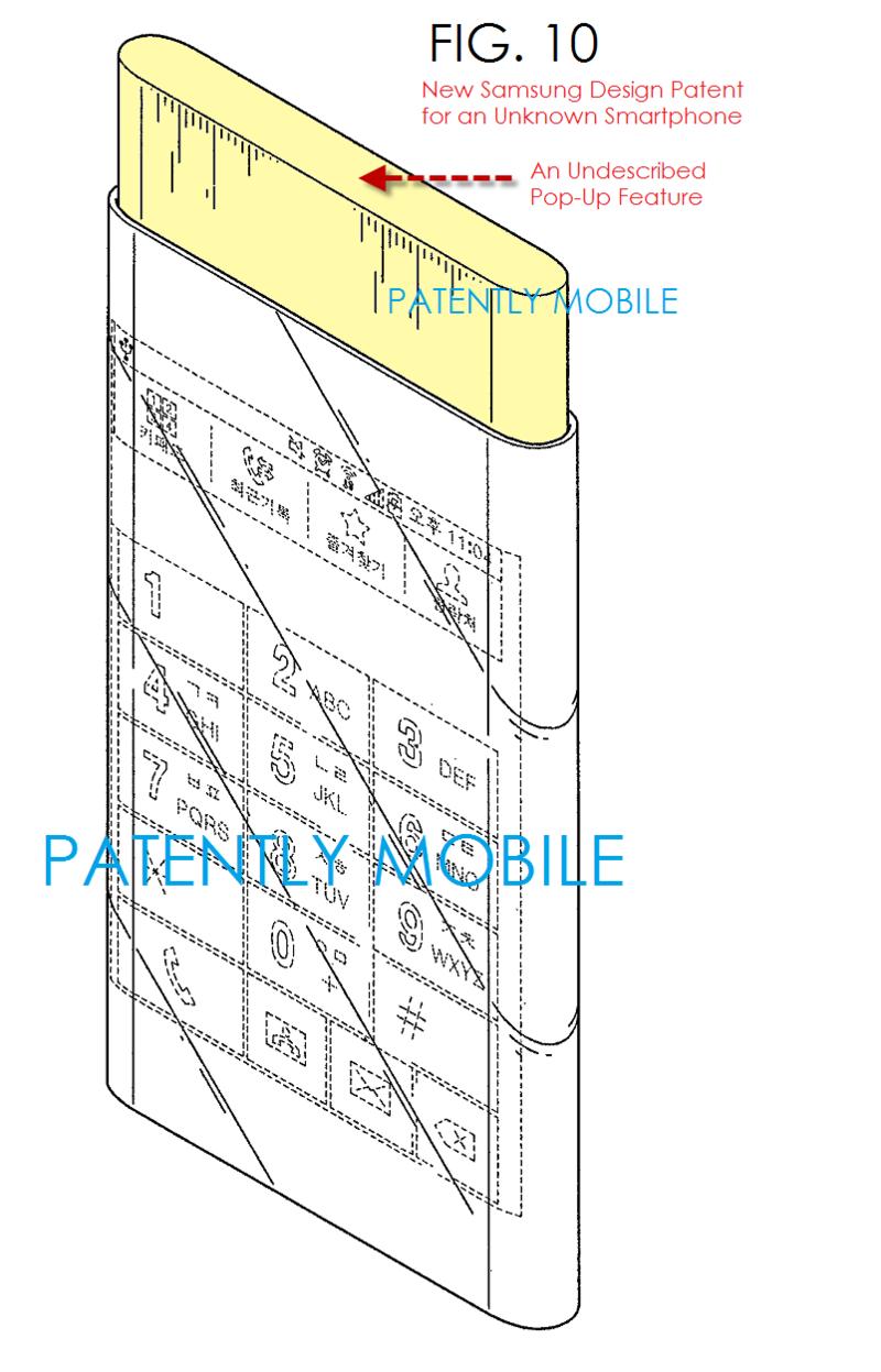 สิทธิบัตรใหม่ Samsung โชว์สมาร์ทโฟนขอบจอโค้ง 2 ฝั่ง กับเครื่องส่วนบนยืดได้