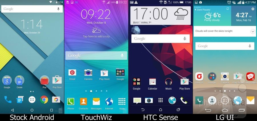 Stock Lollipop vs TouchWiz vs Sense vs LG UI 01