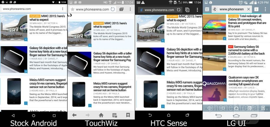 Stock Lollipop vs TouchWiz vs Sense vs LG UI 04
