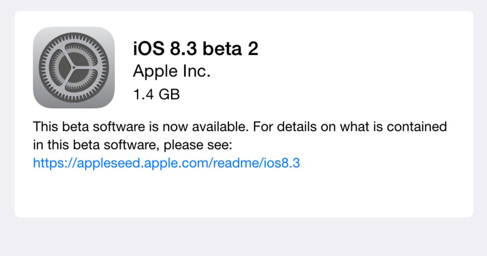 Apple ปล่อย iOS 8.3 Beta 2 ให้ผู้ใช้ทั่วไปที่ลงทะเบียนร่วมโปรแกรมทดสอบได้อัพเดตแล้ว