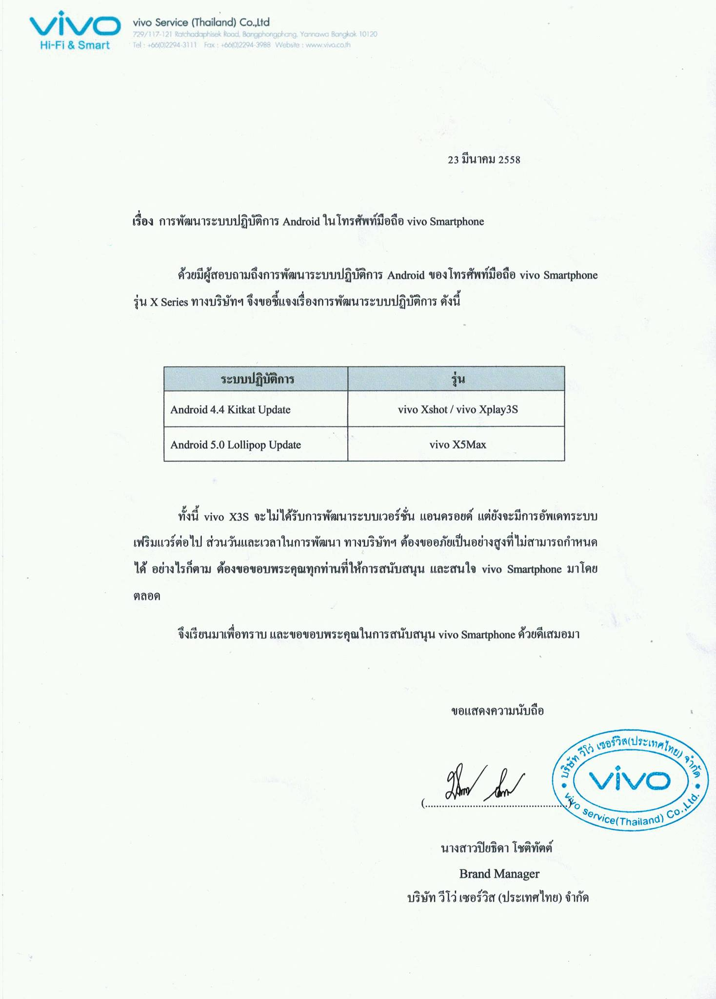 Vivo Smartphone Update Plan