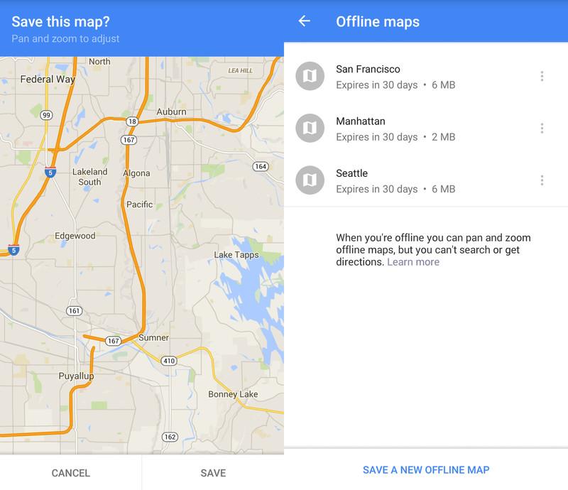 google maps offline screens