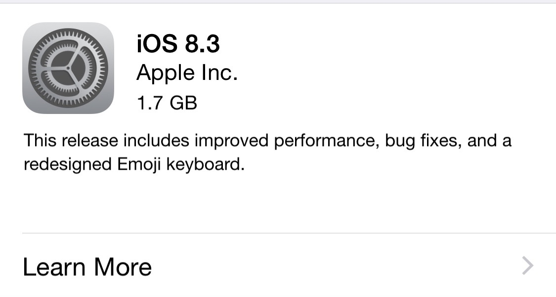 iOS 8.3 Full Update