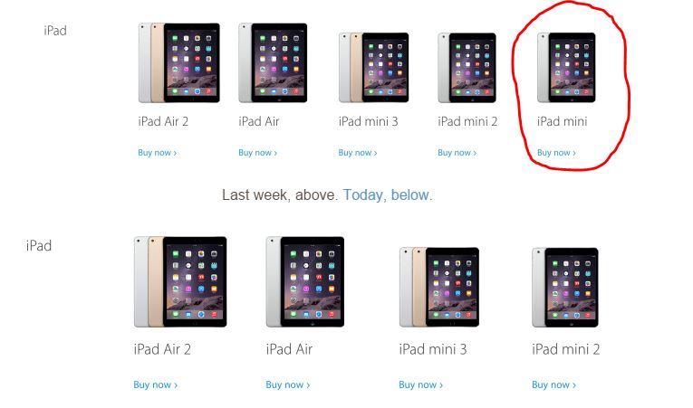 Apple ตัด iPad mini รุ่นแรกออกจาก Store ออนไลน์แล้ว