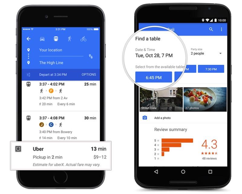 google maps uber opentable