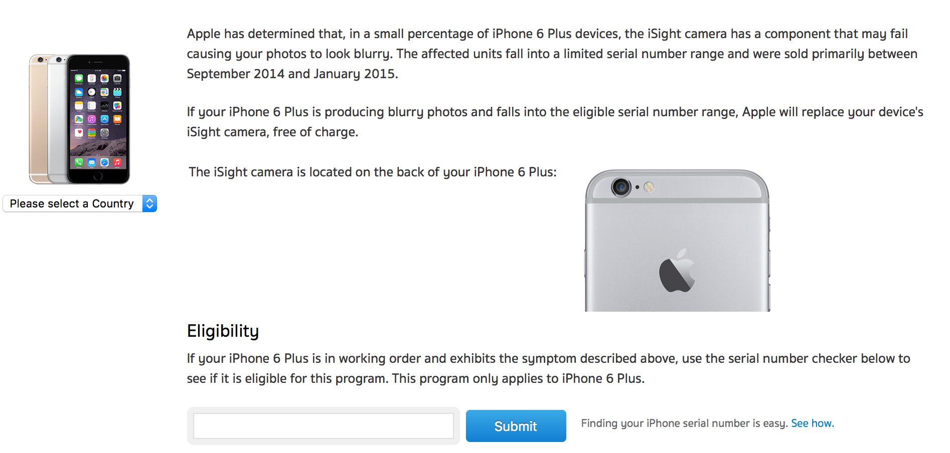 iSight Camera Replacement Program for iPhone 6 Plus