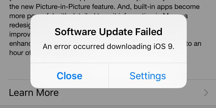 ผู้ใช้รายงาน พบปัญหาไม่สามารถอัพเดต iOS 9 ผ่าน OTA ได้