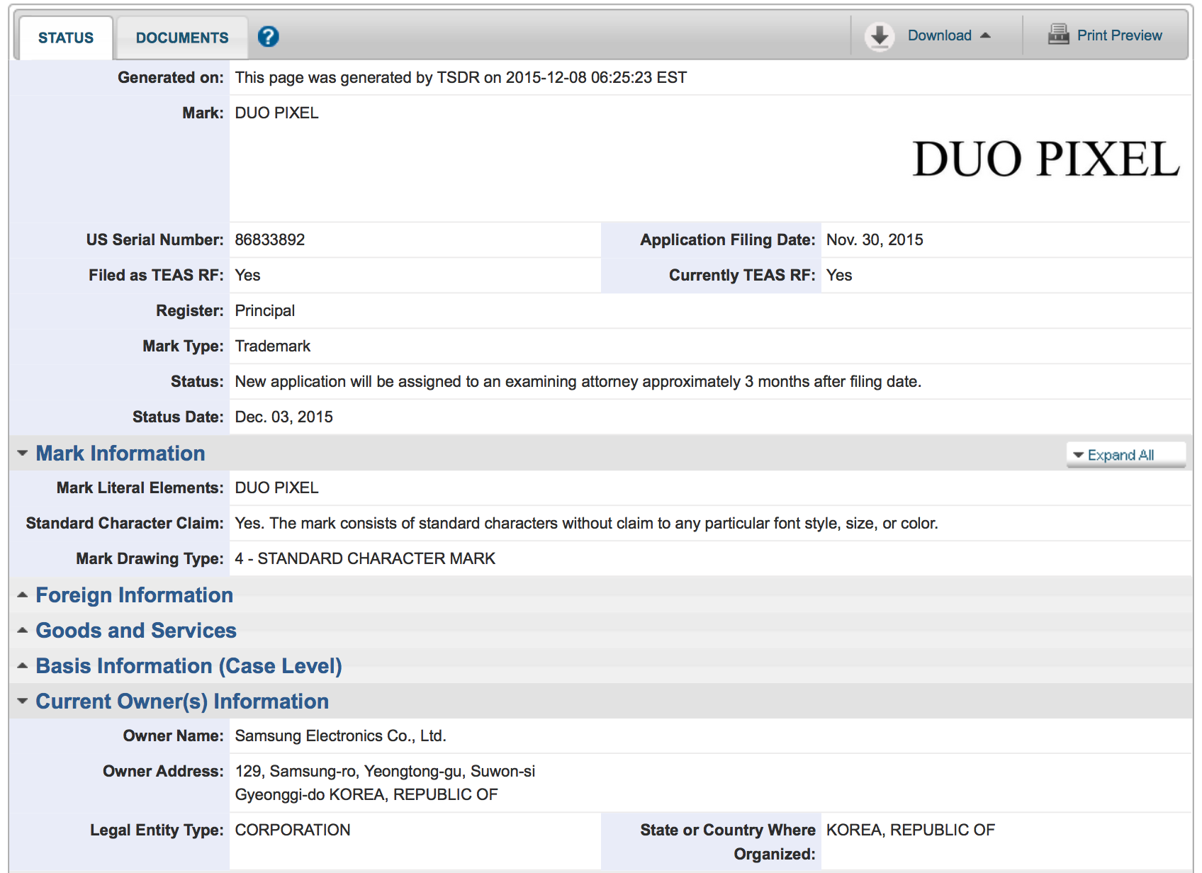 Samsung-Trademark-Application-USPTO-Duo-Pixel