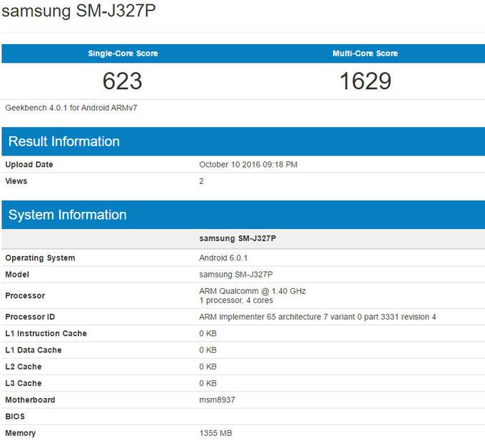 Samsung Galaxy J3 2017 benchmark