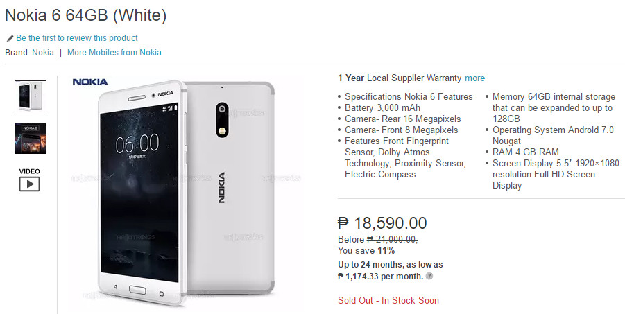 Lazada Nokia 6