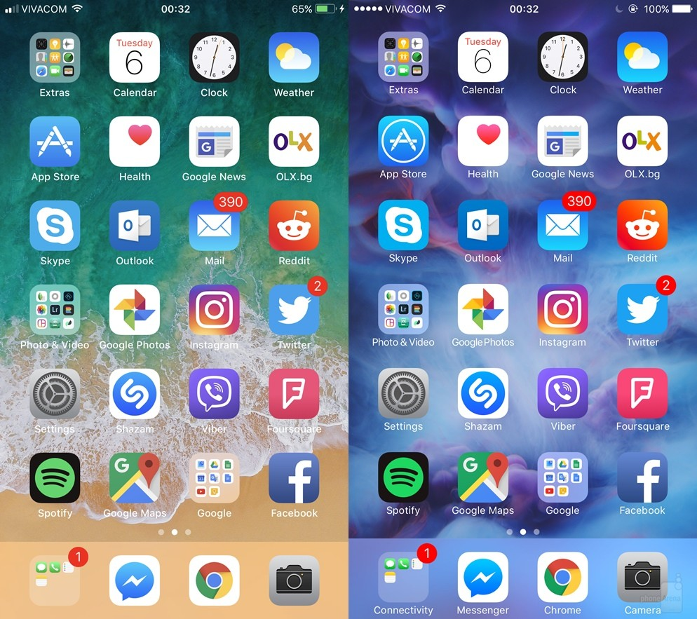 Homescreen---iOS-11-left-vs-iOS-right