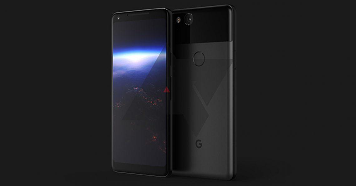 ภาพเรนเดอร์ Google Pixel 2 XL มีกรอบหน้าจอที่แคบขึ้น ด้านหลังออกแบบคล้ายเดิม