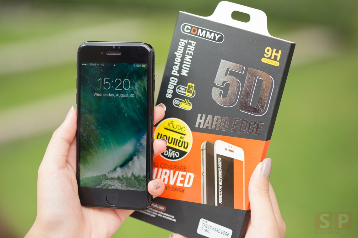 [Gadget] รีวิวกระจกกันรอย COMMY 5D HARD EDGE สำหรับ iPhone 7 เต็มจอ ขอบแข็ง ลงโค้ง !!