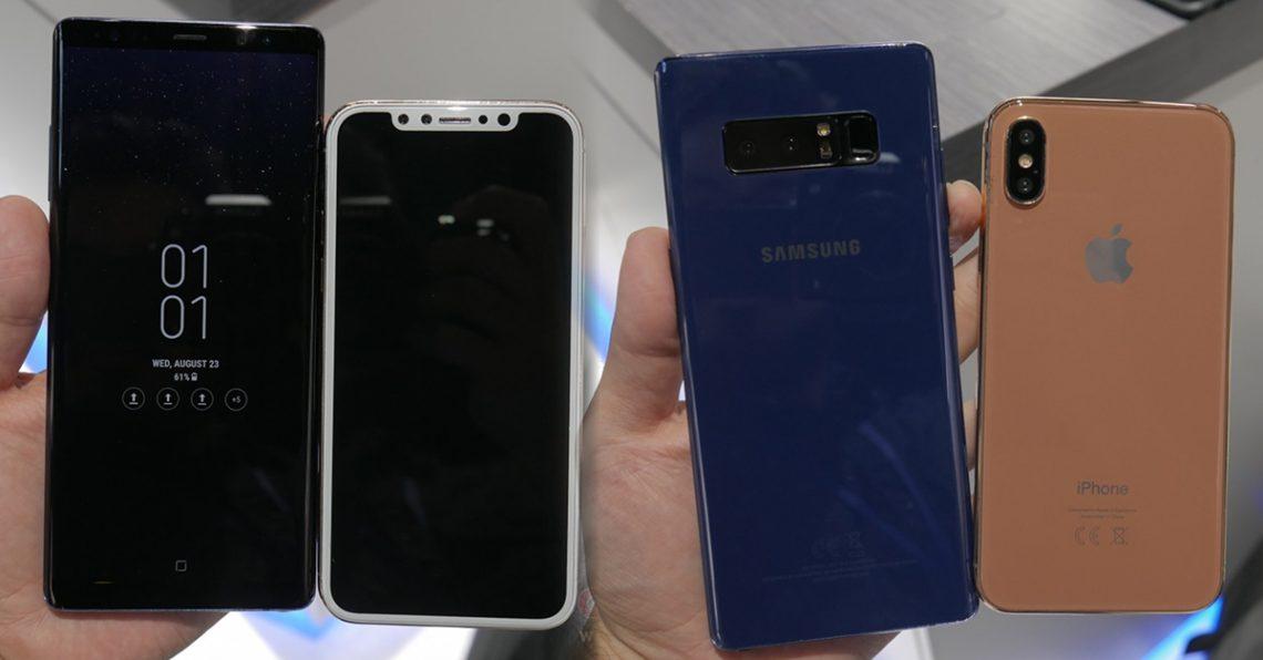 เปรียบเทียบ Samsung Galaxy Note8 และ Apple iPhone 8 เครื่อง dummy ช็อตต่อช็อต