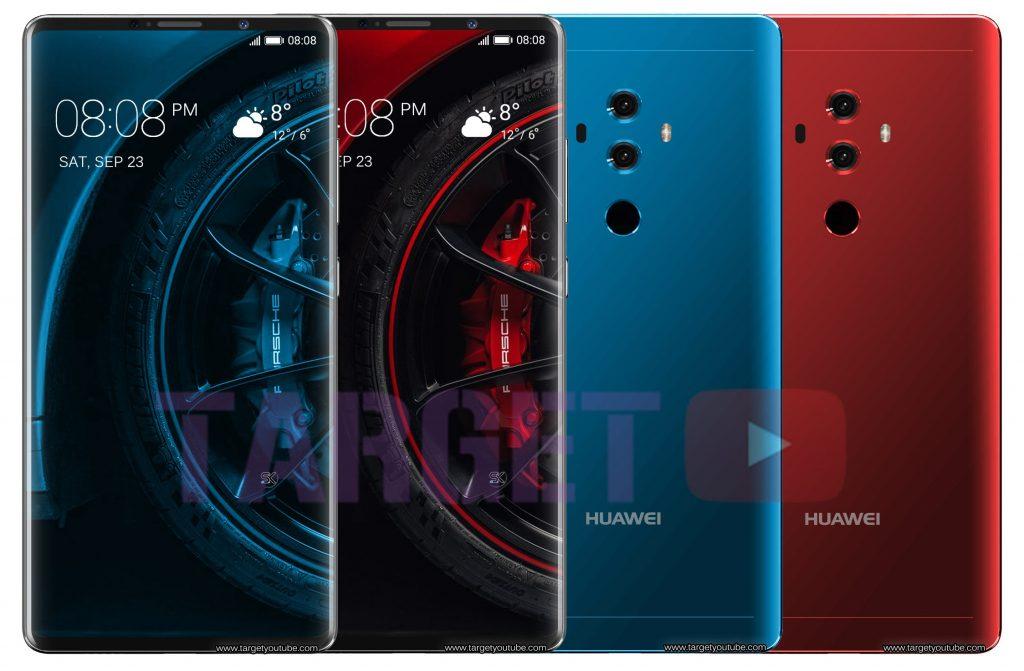 หลุดภาพเรนเดอร์ Huawei Mate 10 Porsche Design มาพร้อมกับจอไร้ขอบและกล้อง 4 ตัว