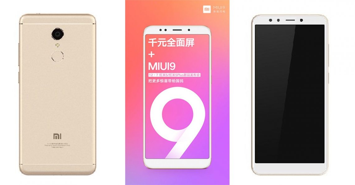 ข้อมูลล่าสุด Xiaomi Redmi 5 และ Redmi 5 Plus หน้าจอ 18:9 พร้อม MIUI 9 ราคาเริ่มต้น 3,500 บาท