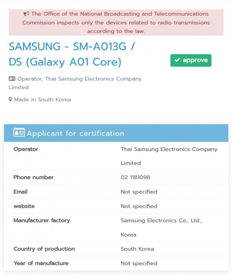 Samsung Galaxy A01 Core certified by Thailands NBTC