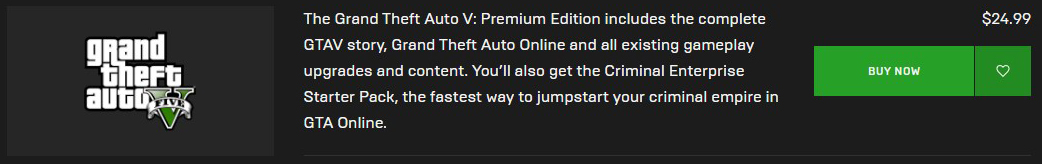 Buy GTA V from Epic Games