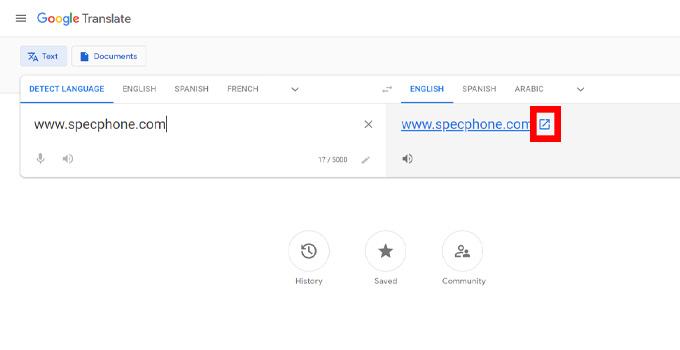 google translate เว็บ