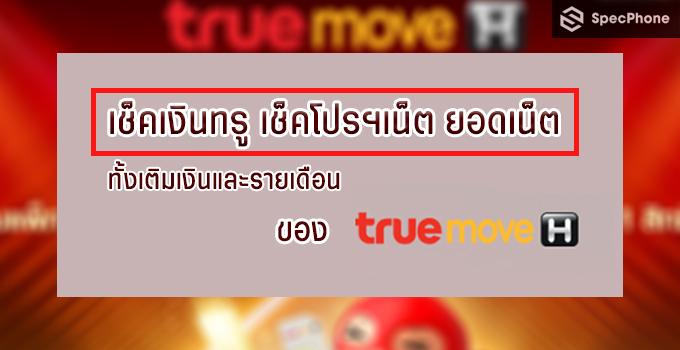 เช็คเงินทรู เช็คโปรฯเน็ต ยอดเน็ต เติมเงินและรายเดือน ของ True Move H