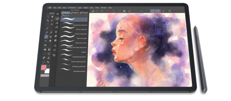 galaxy tab s7plus fron clip studio paint ui screen pc 1