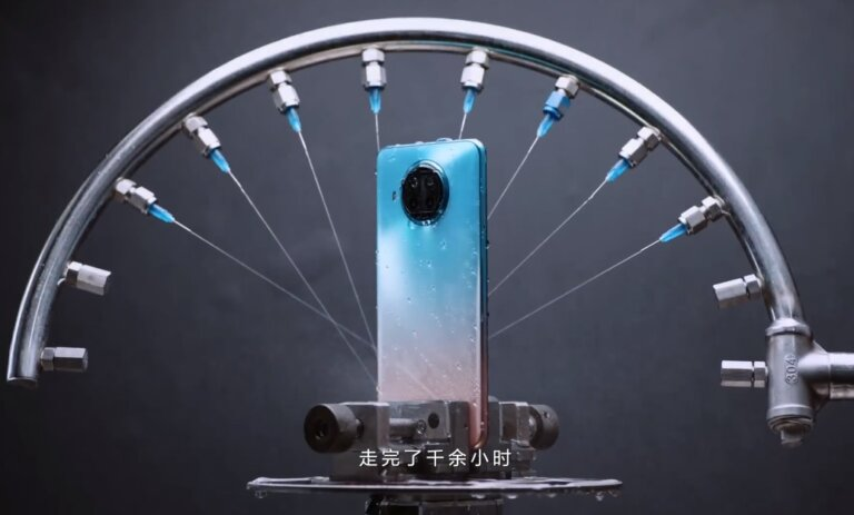 Redmi Note 9 Pro 5G water jet testing