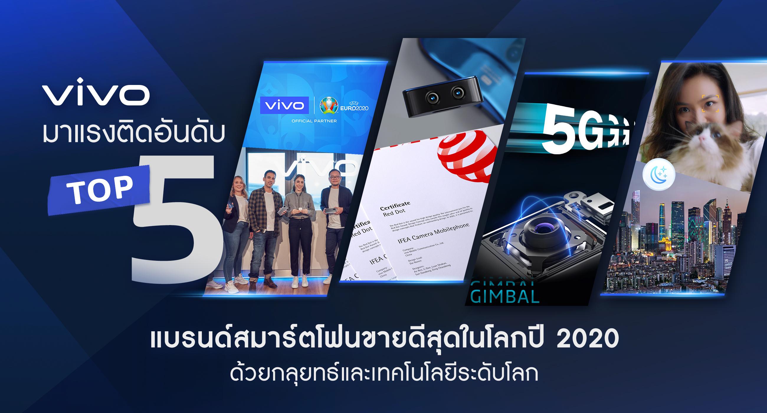 Vivo ติดอันดับท็อป 5 แบรนด์สมาร์ตโฟนยอดขายสูงสุดในโลก พิสูจน์แบรนด์คุณภาพ ครองใจผู้ใช้ทั่วโลก