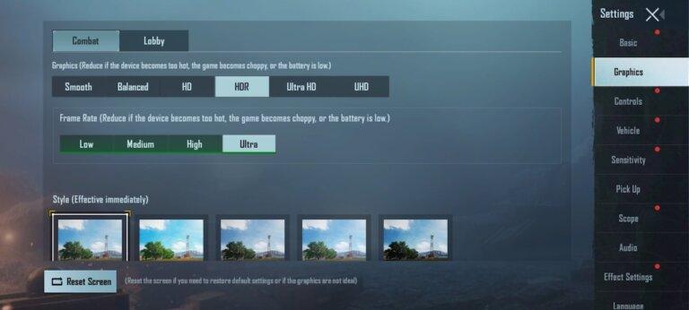 Screenshot Redmi Note 10S PUBG Setting