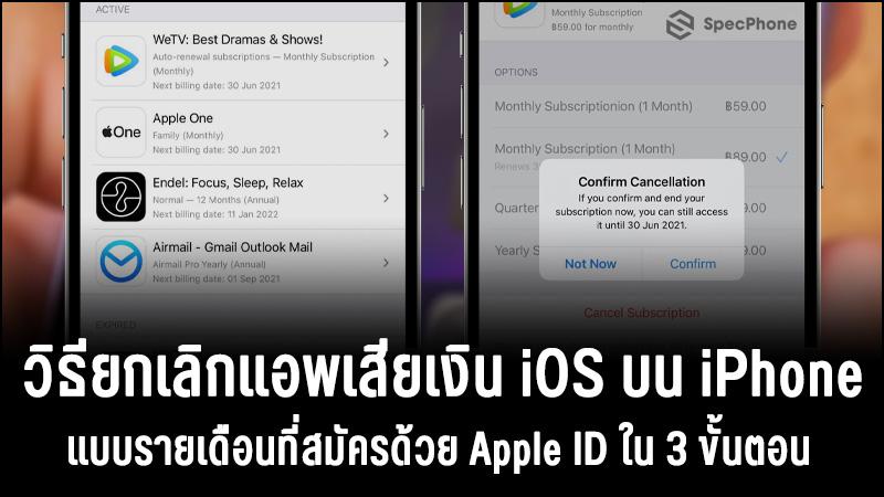 วิธียกเลิกแอพเสียเงิน iOS บน iPhone แบบรายเดือนที่สมัครด้วย Apple ID ใน 3 ขั้นตอน