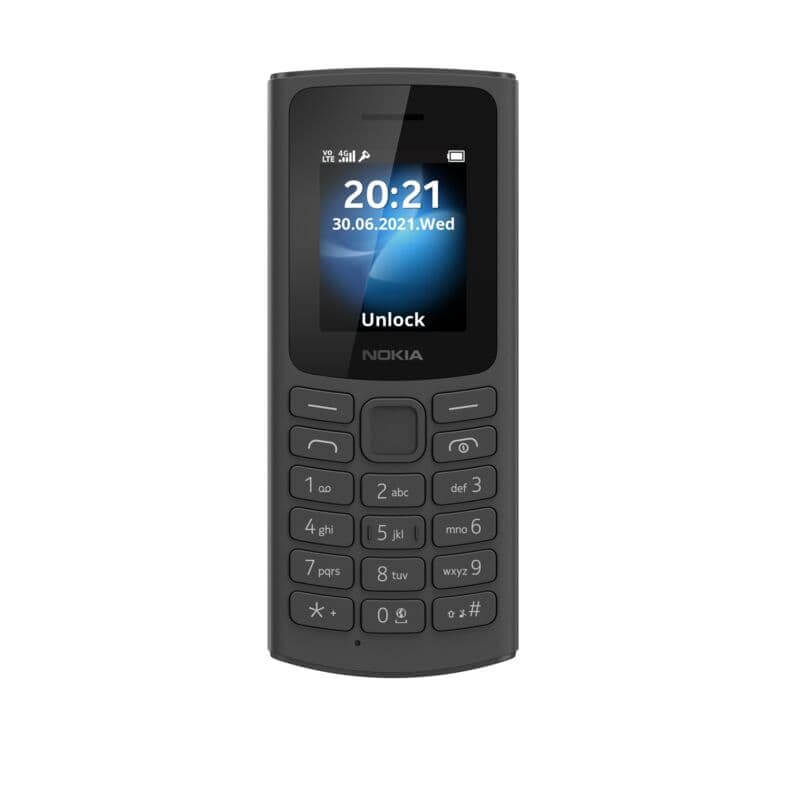 Nokia 105 4G BLACK Front LS SS PNG