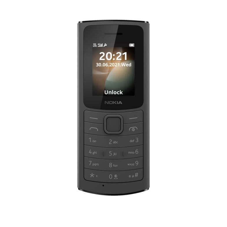 Nokia 110 4G BLACK Front LS SS PNG