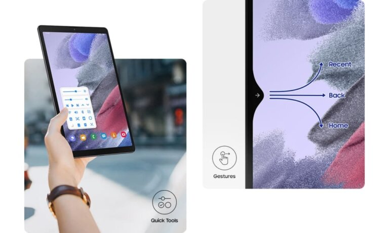 Galaxy Tab A7 Lite LTE 03 One handed PC.